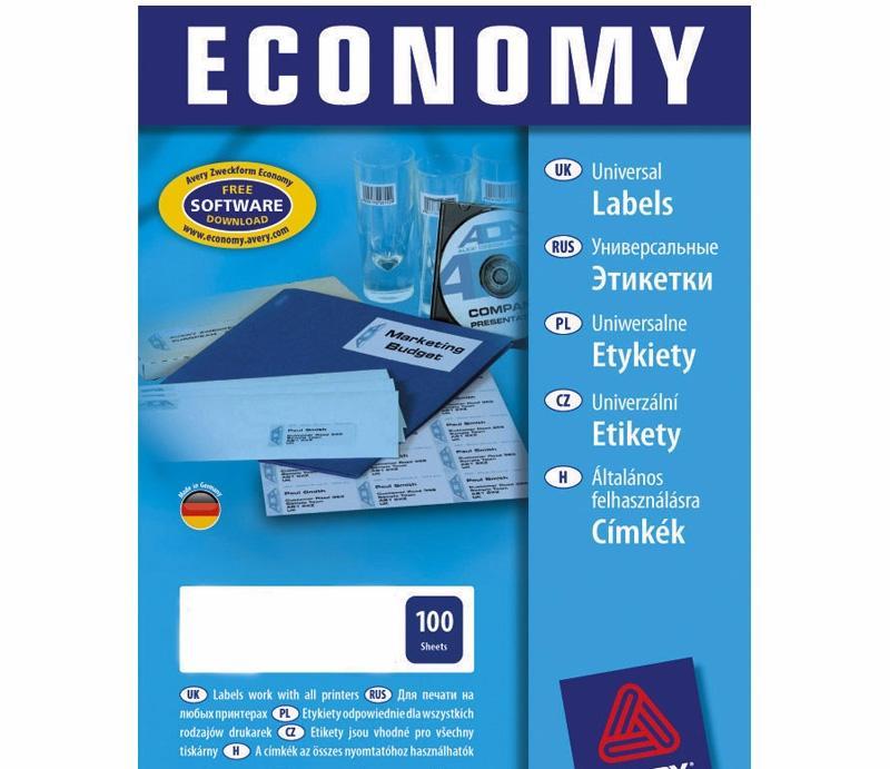 Этикетки универсальные economy на 24 дел, 70x35 мм, а4, 100 л, белые (avery)