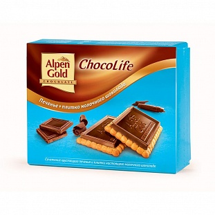Печенье Alpen Gold ChocoLife с плитк. мол. шок. 150г
