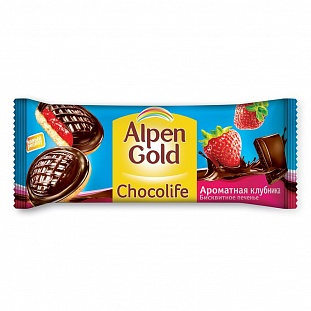 Печенье Alpen Gold Chocolife клубника, 136г