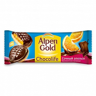 Печенье Alpen Gold Chocolife апельсин, 136г
