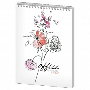 Блокнот 40л,кл,А6,Office Flowers, глян. лам, спир(NBA6-40OF)